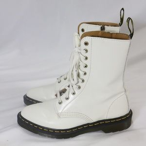 DR. MARTENS Alix 10-eye Off-White Zip Up Boots